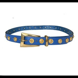 The Limited Blue Leather Belt w/ Gold Details- M